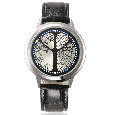 아재몰 디자인 손목시계_Touch Screen LED Waterproof Personality Tree Shaped Dial Leather Strap Lover Men Women Watch