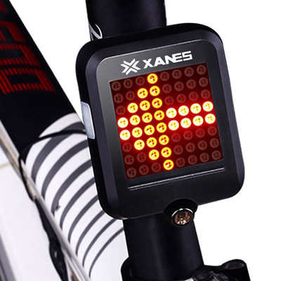 아재몰 자전거 후미등 조명_XANES 64 LED 80LM Intelligent Automatic Induction Steel Ring Brake Safety Bike Tail Light with Infrared Laser