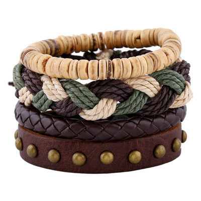 아재몰 아재 팔찌_Bohemian Weave Hemp Rope Bracelet Vintage Multilayer Cowhide Leather Bracelets Jewelry for Men