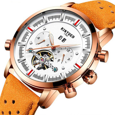 아재몰 기계식 손목시계_KINYUED JYD-J019 Calendar Casual Style Mechanical Watches Genuine Leather Strap Men Watch
