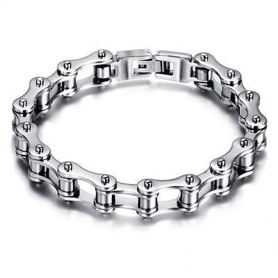 아재몰 아재 팔찌_Silver Black Stainless Steel Motorcycle Bike Chain Bracelet For Men