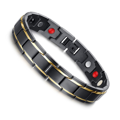 아재몰 아재 팔찌_Black 316L Titanium Health Magnetic Bracelet Jewelry for Men