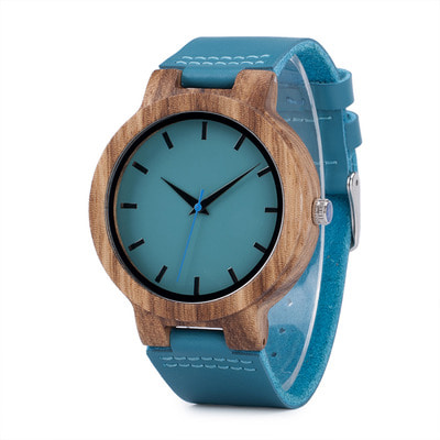 아재몰 디자인 손목시계_BOBO BIRD C28 Casual Style Wooden Watch Blue Genuine Leather Strap Quartz Watch