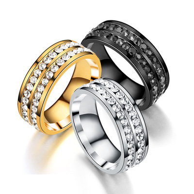 아재몰 아재 반지_Trendy Stainless Steel Double Rhinestone Finger Ring for Men
