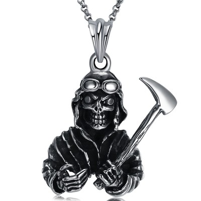 아재몰 아재 목걸이_Retro Antique Silver Skull Devil Pendant Titanium Steel Necklace Casual Sweater Chain for Men