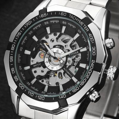 아재몰 기계식 손목시계_MN4493 Men Full Stainless Steel Watch Self-Wind Mechanical Wrist Watch