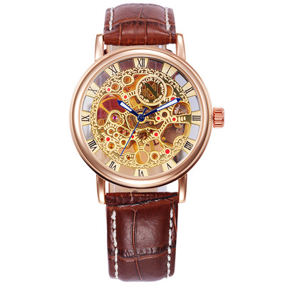 아재몰 기계식 손목시계_NORTH 1218 Waterproof Skeleton Mens Wrist Watch Gold Case Skeleton Hand Wind Mechanical Watches