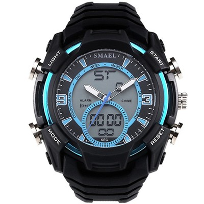 아재몰 디지털 손목시계_SMAEL 1349 Stopwatch Men Sport Watch Waterproof Double Display Digital Wrist Watch