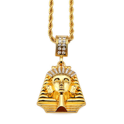 아재몰 아재 목걸이_Mens Hip Hop Gold Necklace Fashion Rhinestone Pharaoh Pendant Necklace
