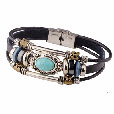 아재몰 아재 팔찌_Vintage Multilayer Bracelets Blue Oval Irregular Geometric Leather Bracelet Ethnic Jewelry Men