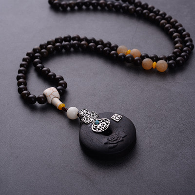아재몰 아재 목걸이_Ethnic Ebony Wood Charm Necklace Vintage Wood Pendant Necklaces for Women Men