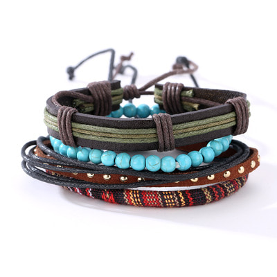 아재몰 아재 팔찌_Punk Multilayer Bracelets Adjustable Woven Beads Leather Bracelets for Men