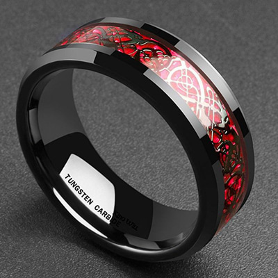 아재몰 아재 반지_Ethnic Solid Carbon Fiber Finger Rings Vintage Red Dragon Pattern Finger Ring Jewelry For men
