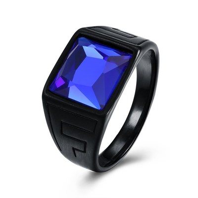 아재몰 아재 반지_Fashion Titanium Steel Ring Blue Glass Gun Black Plated Ring Wholesale for Men