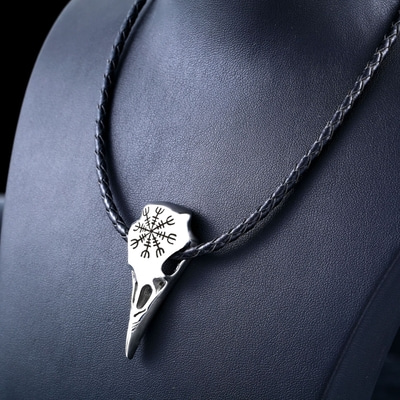 아재몰 아재 목걸이_Viking Amulet Crow Skull Pendant Necklace Trendy Genuine Leather Chain for Men Women