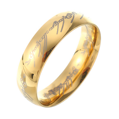 아재몰 아재 반지_18K Gold Plated Lord of the Rings Stainless Steel LOTR Finger Ring for Unisex