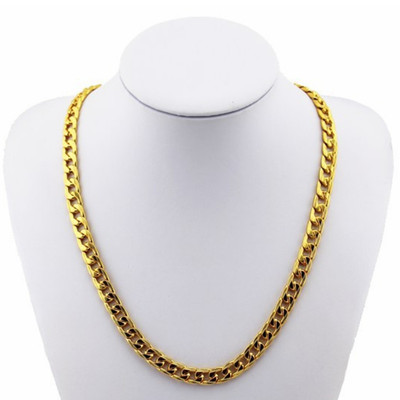 아재몰 아재 목걸이_18K Gold Plated 10mm Men Chain 24inch Necklace Jewelry