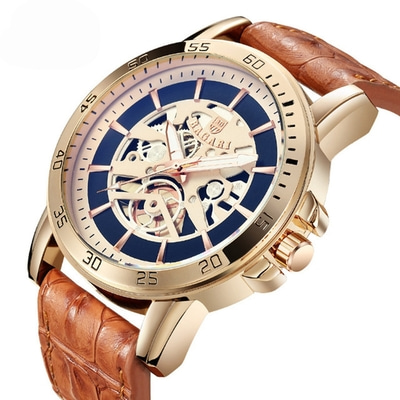 아재몰 아재 일반 손목시계_BAGARI 1688 Waterproof Leather Strap Quartz Watch Mechanical Appearance Sport Watch