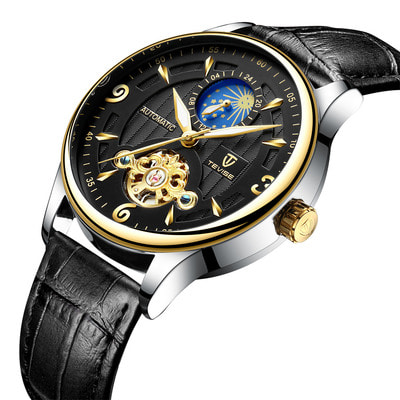 아재몰 기계식 손목시계_TEVISE T820B Casual Moon Phase Automatic Mechanical Watch Luxury Leather Strap Men Watch