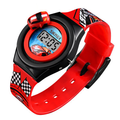아재몰 디지털 손목시계_SKMEI 1376 Cartoon Car Children Digital Watch Creative Date Display Fashion Watch
