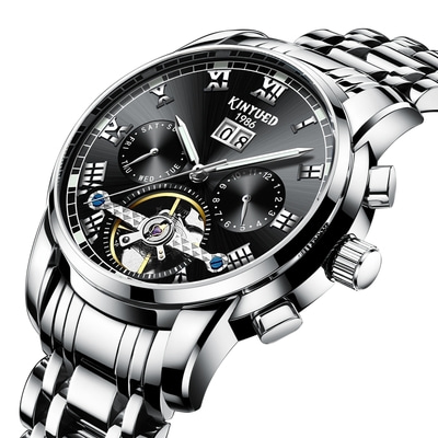아재몰 기계식 손목시계_KINYUED JYD-J014 Stainless Steel Automatic Mechanical Watch Business Style Skeleton Men Watch