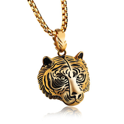 아재몰 아재 목걸이_Mens Punk Gold Black Tiger Stainless Steel Long Necklace Hip-hop Accessory