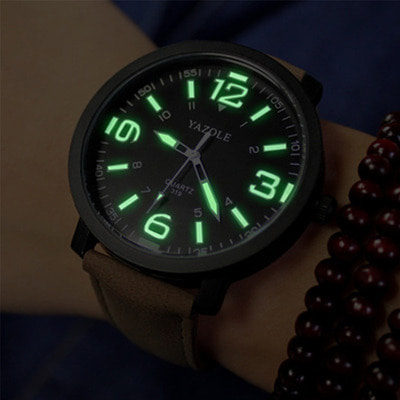 아재몰 아재 일반 손목시계_YAZOLE 319 Luminous PU Leather Band Men Analog Sport Wrist Watch