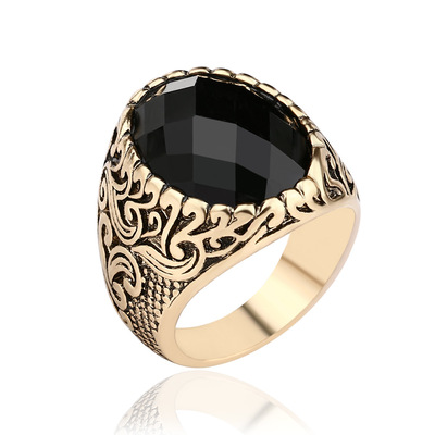 아재몰 아재 반지_Retro Classic Black Gem Jewelry Exquisite Carved Totem Geometry Men Ring