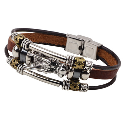 아재몰 아재 팔찌_Vintage Leather Trendy Dragon Charming Bracelet Zinc Alloy Chain Bangle for Men