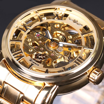 아재몰 기계식 손목시계_028 Full Steel Strap Men Watch Skeleton Self-Wind Mechanical Wrist Watch