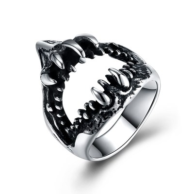 아재몰 아재 반지_Retro 316L Stainless Steel Shark Teeth Punk Spike Hollow Ring for Men