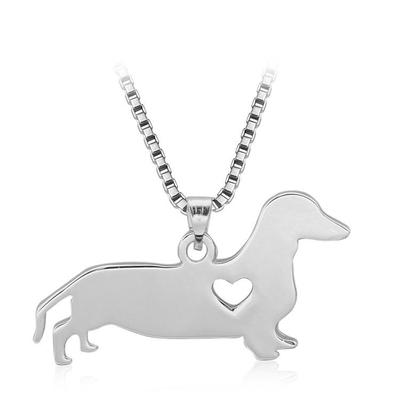 아재몰 아재 목걸이_Silver Love Dog Heart Pendant Charm Women Necklace Chain