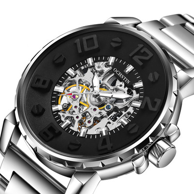 아재몰 기계식 손목시계_OCHSTIN 62004B 3D Dial Case Design Automatic Mechanical Watches Skeleton Stainless Men Watch