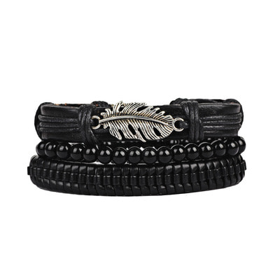 아재몰 아재 팔찌_3Pcs/Set Punk Black Multilayer Woven Leather Bracelet Leaf Charm Beaded Bracelets for Men