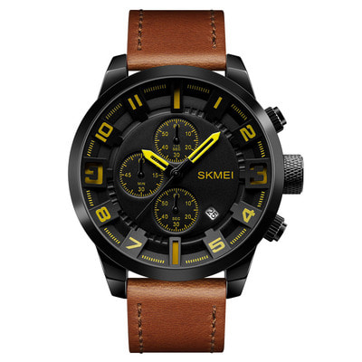 아재몰 아재 일반 손목시계_SKMEI 1309 Men Watch Fashion Leather Strap Three Smal Dials Stopwatch Male Quartz Wrist Watch