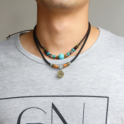 아재몰 아재 목걸이_Vintage Beaded Pendant Necklace Wax Rope Irregular Copper Coin Charm Necklace Ethnic Jewelry for Men