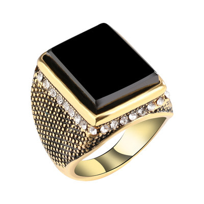 아재몰 아재 반지_20mm Punk Resin Black Color Geometry Rhinestone Ancient Gold Finger Ring for Men