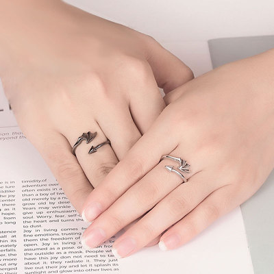 아재몰 아재 반지_Vintage Open Couple Ring Retro Angels Demons Adjustable Finger Rings Ethnic Jewelry for Women Men