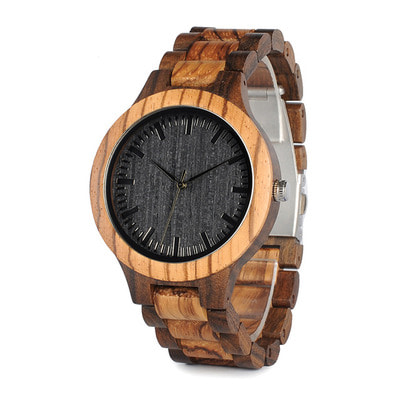아재몰 디자인 손목시계_BOBO BIRD WD30 Wooden Watch Black Dial Display Unisex Quartz Wrist Watch