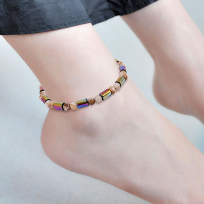 아재몰 아재 팔찌_Unisex Ethnic Hematite Beads Anklet Classic Colorful Beaded Ankle Bracelets Creative Jewerlys