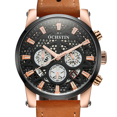 아재몰 디자인 손목시계_OCHSTIN GQ067B Working-dials Calendar Creative Wrist Watch Leather Strap Quartz Watches