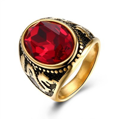아재몰 아재 반지_Trendy Red Glass Titanium Steel Ring Gold Plated Ball Ring for Men Women