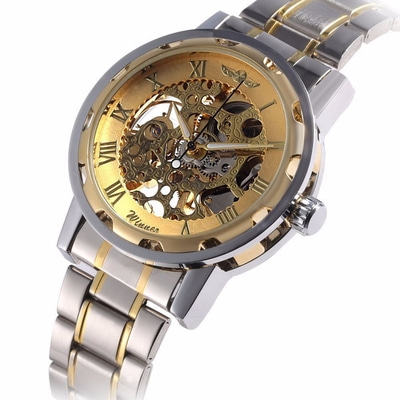 아재몰 기계식 손목시계_Classic Hand Wind Mechanical Watch Golden Case Classic Romen Skeleton Men Wartch