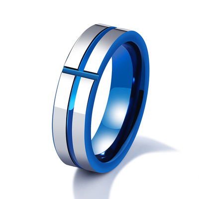 아재몰 아재 반지_6mm Tungsten Steel Men Ring Blue Cross Simple Trendy Jewelry