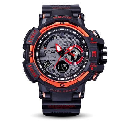 아재몰 디지털 손목시계_SBAO S8008 Dual Display Digital Watch Men Fashion Style Calendar Stopwatch Waterproof Sport Watch