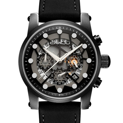 아재몰 디자인 손목시계_CRRJU 2137 Military Style Skeleton Chronograph Quartz Watch Genuine Leather Strap Men Watches