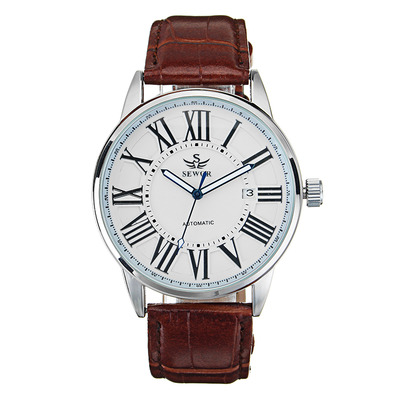 아재몰 기계식 손목시계_SEWOR Calendar Automatic Mechanical Watch Simple Style Analog Display Men Wrist Watch