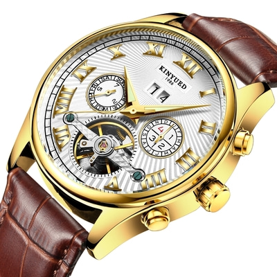 아재몰 기계식 손목시계_KINYUED JYD-J011 Calendar Automatic Mechanical Watch Fashionable Leather Strap Men Wrist Watch
