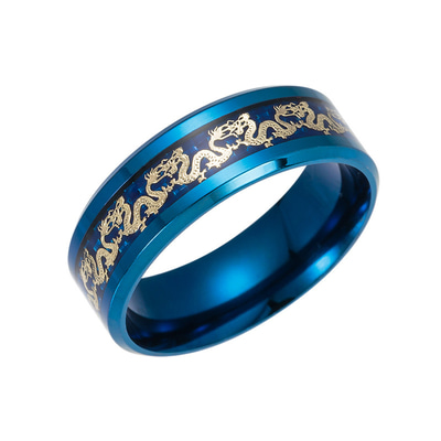아재몰 아재 반지_Ethnic Chinese Dragon Pattern Finger Ring Retro Titanium Steel Finger Rings Fashion Jewerly For Men