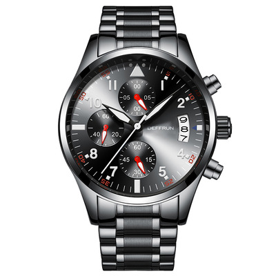 아재몰 아재 일반 손목시계_DEFFRUN DQ0001 Chronograph Calendar Working-dials Men Watch Stainless Steel Quartz Watches